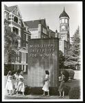Brick Pylon and students; undated
